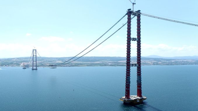 The deck block has been placed on the canakkale bridge