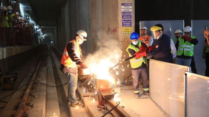 imamoglu dudullu made rail welding at bostanci metro kayisdagi station