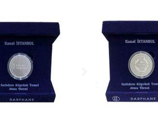 I soldi del souvenir d'argento del canale Istanbul sono in vendita da TL