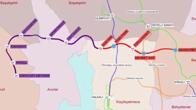 Mahmutbey Esenyurt Metro map