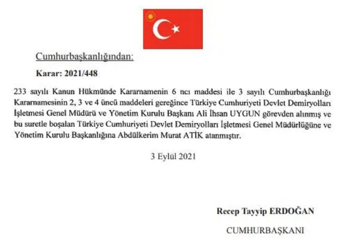 Генеральний директор TCDD Алі Іхсан Уйгун звільнений
