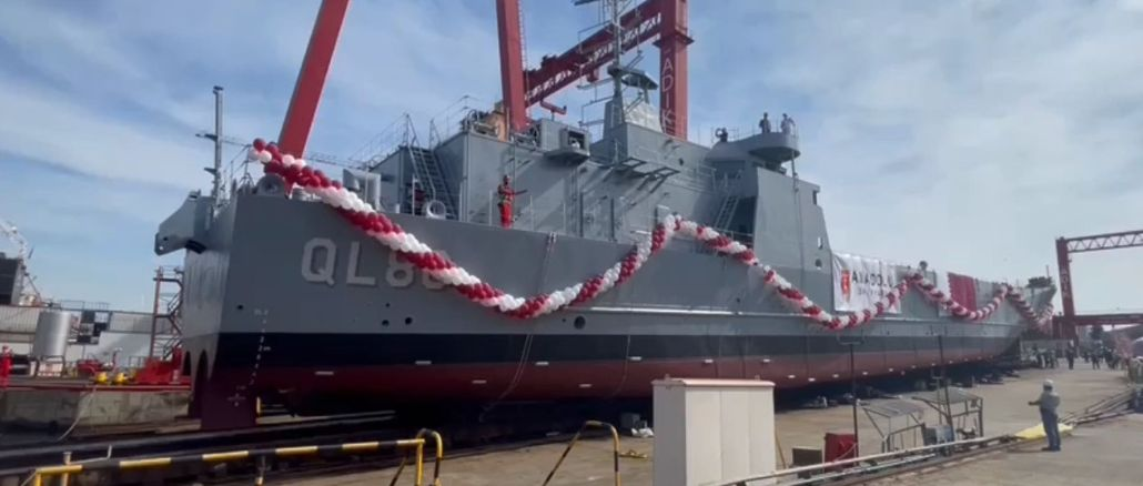 Tank landing craft built for Qatar launched