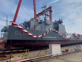 إطلاق سفينة إنزال دبابات صنعت لقطر