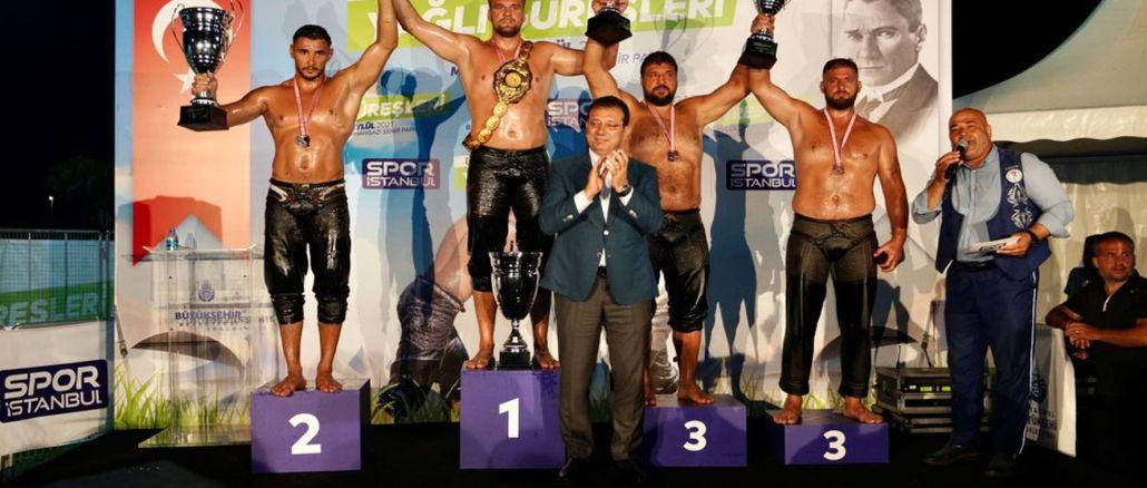 Huseyin Gumusalanin won the golden belt in ulugazi oily wrestlers