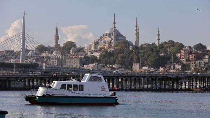 local and national sea taxi landed on the water, its first customer was imamoglu