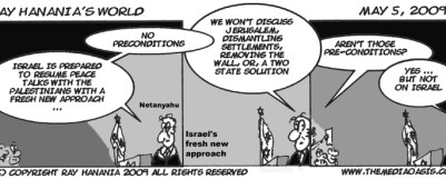 Netanyahu says there should be no pre-conditions for peace ...e xcept those that he imposes