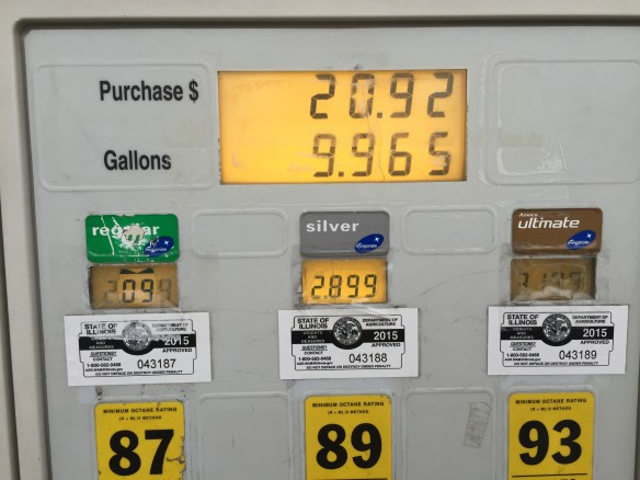 BP gasoline pump in suburban Palos Park outside of Chicago. The price difference is outrageous, but typical of BP stations around the region