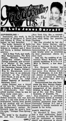 My parents' mixed marriage received coverage in black newspapers. I really love the enthusiastic description in Lulu Jones Garrett's Gadabouting in the USA column.