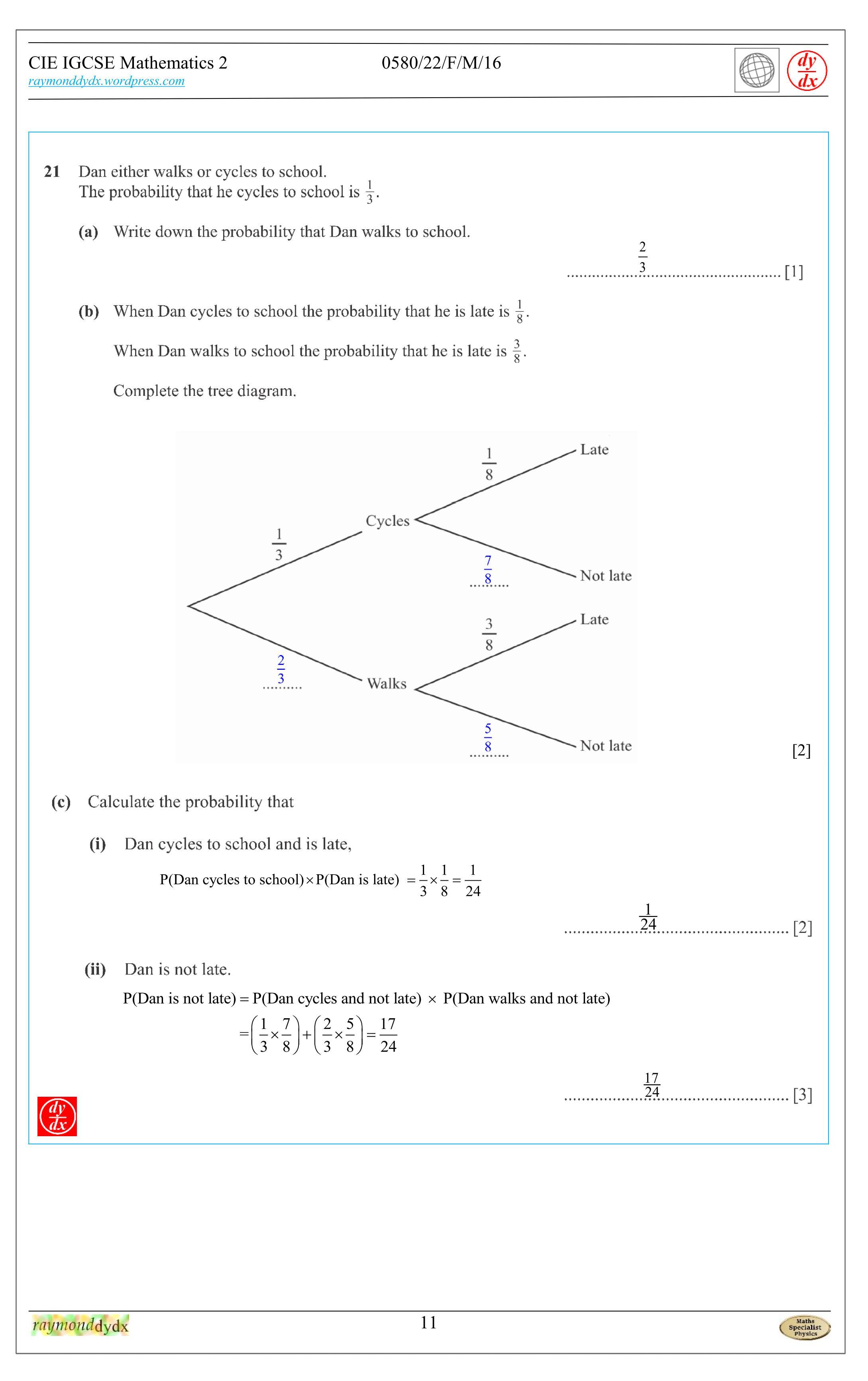 Tuition Maths IGCSE– 0580_m16_qp_22, 0580/22/F/M/16 q21