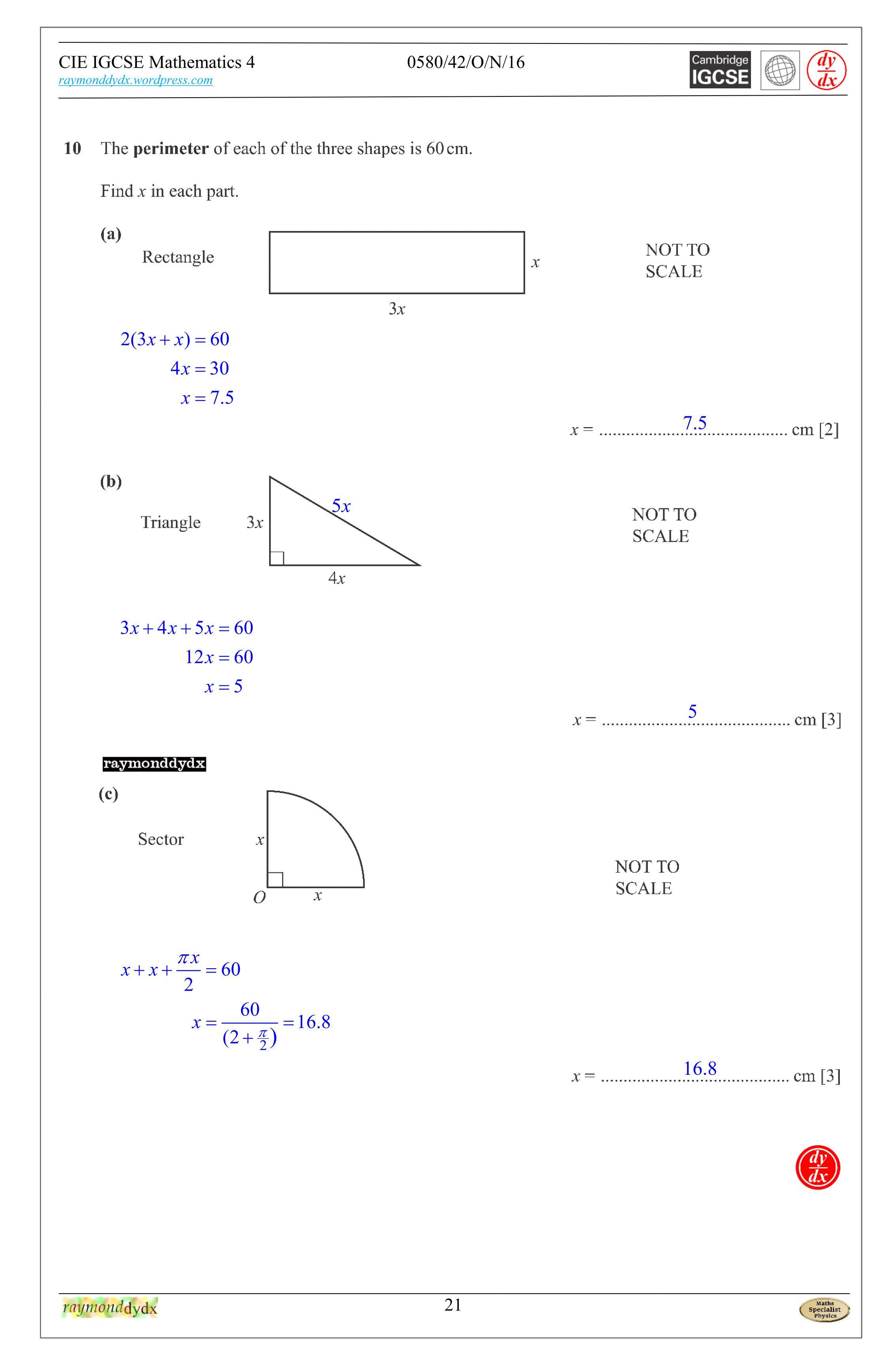 Tuition. Maths IGCSE, 0580_w16_qp_42, 0580/42/O/N/16, q10