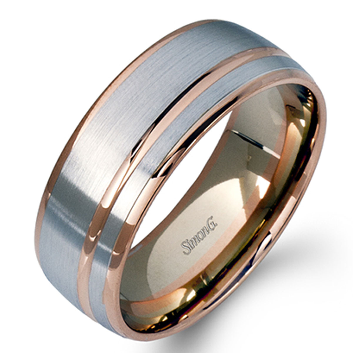 Simon G Engagement Rings Contemporary Mens Two Tone Modern