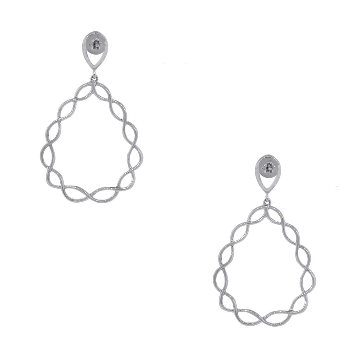 18k White Gold 1.49ctw Diamond Twisted Tear Drop Earrings