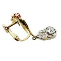 Vintage Ruby and Diamond Screw Back Earrings Boca Raton