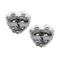 18K White Gold Diamond Pave Heart Stud Earrings