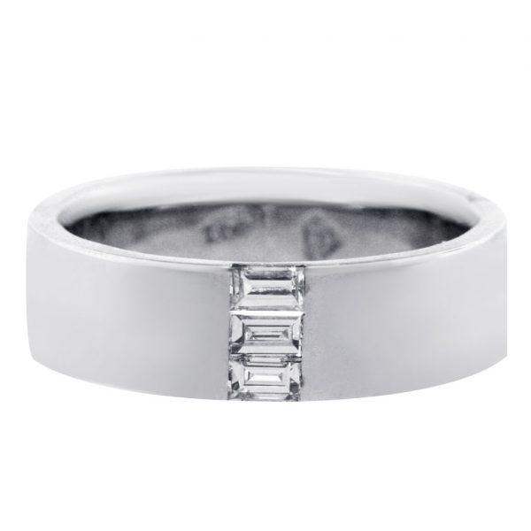 14K White Gold and Emerald Cut Diamonds Mens Wedding Band  Raymond Lee Jewelers