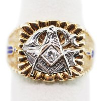 10K Yellow Gold and Diamond Freemason Masonic Ring ...