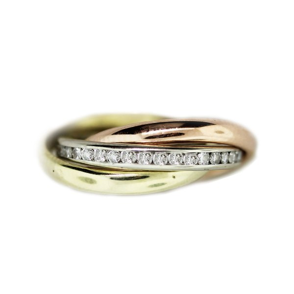 Tricolor Gold And Diamond Rolling Ring - Raymond Lee Jewelers
