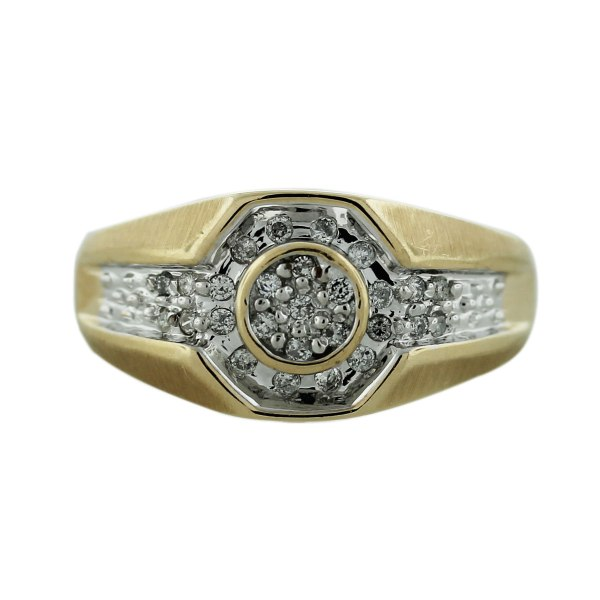 10k Yellow Gold Pave Diamond Mens Ring