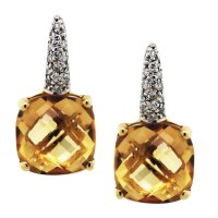 18K Yellow Gold Citrine Diamond Drop Earrings