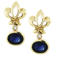 Blue Sapphire and Yellow Gold Earrings with Diamond Accent