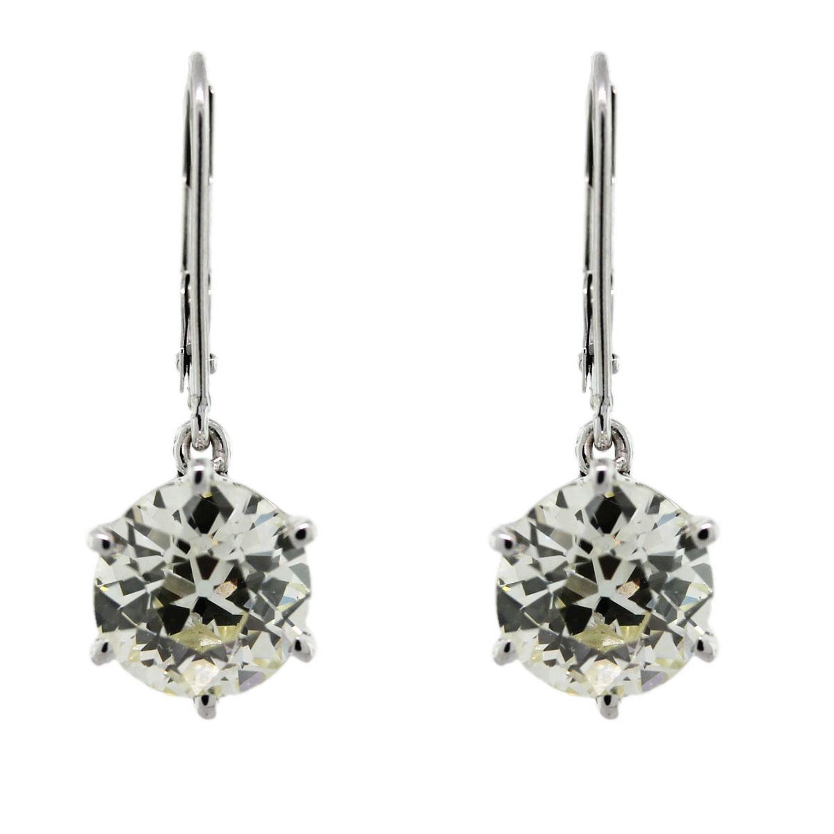 14k White Gold 5 Carat European Cut Diamond Drop Earrings