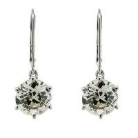 14k White Gold 5 Carat European Cut Diamond Drop Earrings ...