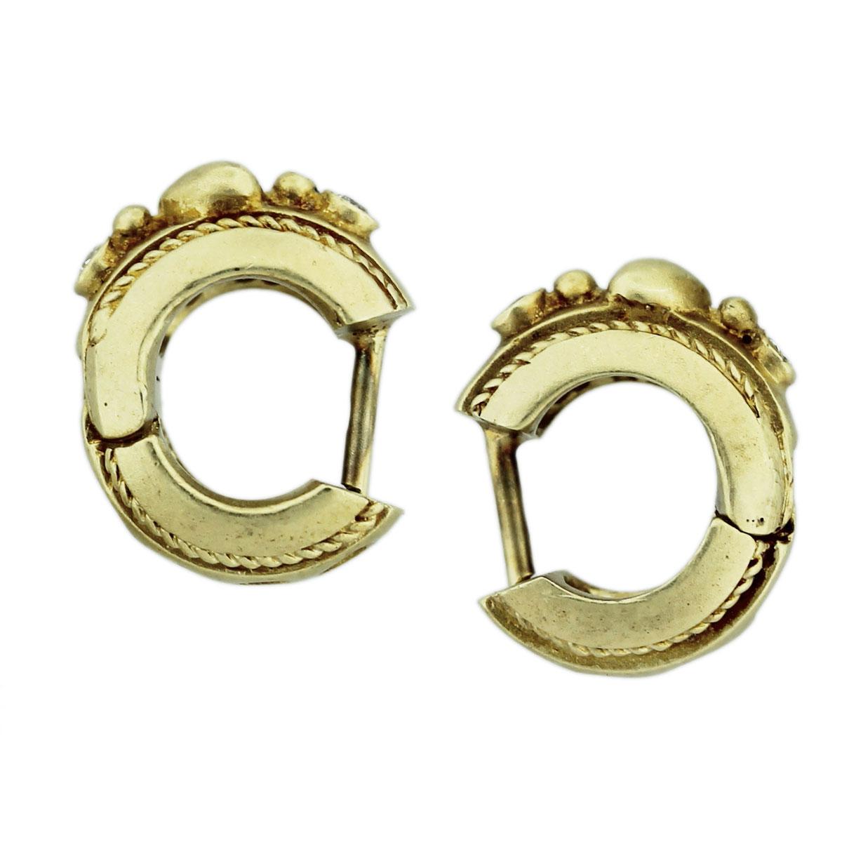 14k Yellow Gold Diamond Heart Huggie Earrings Boca Raton