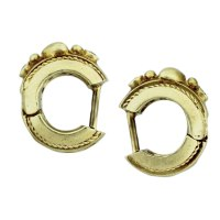 14k Yellow Gold Diamond Heart Huggie Earrings Boca Raton