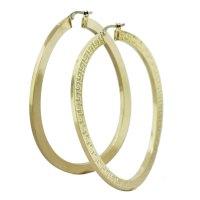 14k Yellow Gold Greek Key Twisted X-Large Hoop Earrings ...
