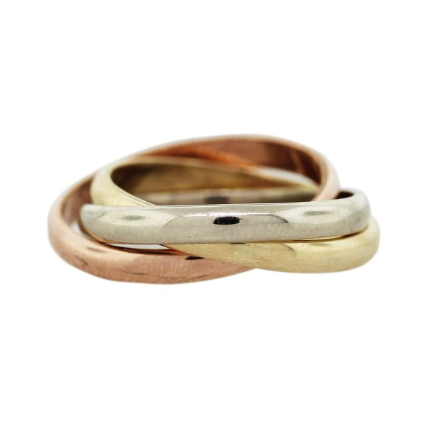 14k Tri-color Gold Rolling Ring Style Wedding Band Boca Raton