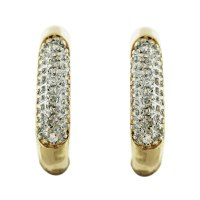 10k Yellow Gold Pave Diamond Huggie Earrings Boca Raton