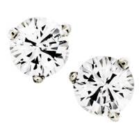 1 Carat Round Diamond Stud Earrings 14K White Gold Setting ...