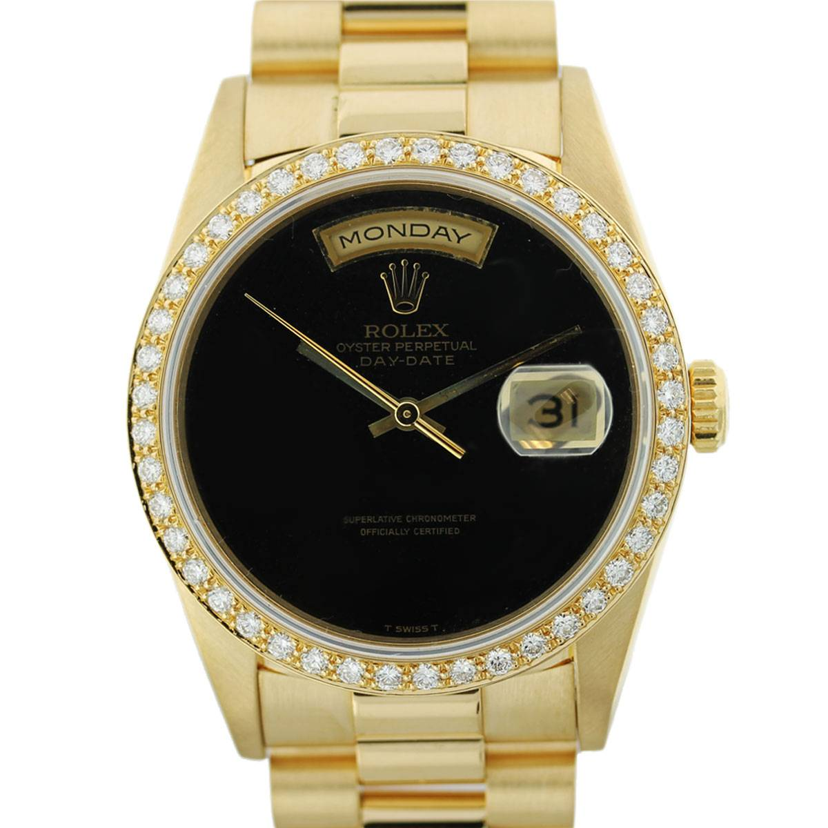 Gold Rolex President 18238 Black Onyx Dial Watch  Boca Raton