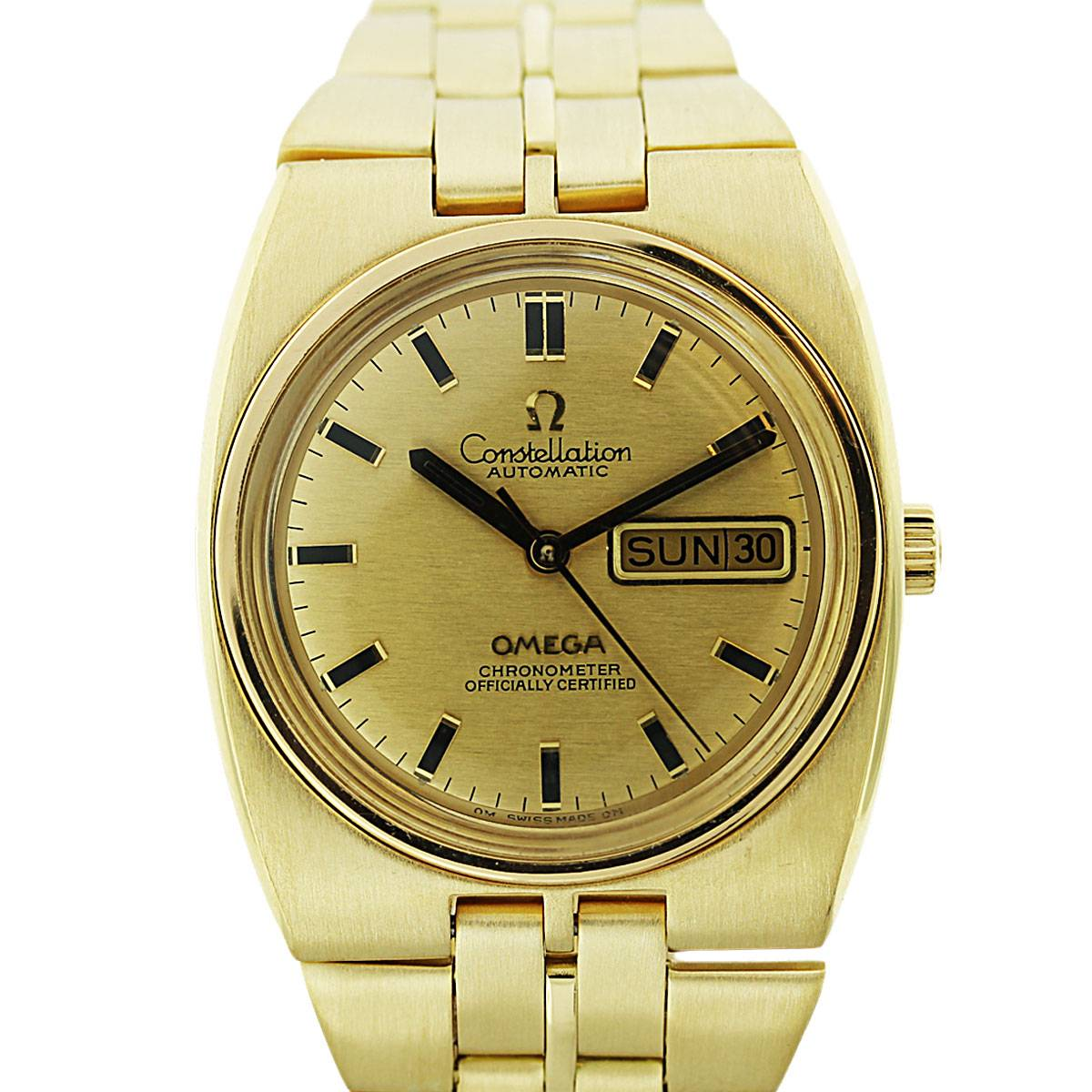 18k Yellow Gold Omega Constellation Day Date Mens Watch