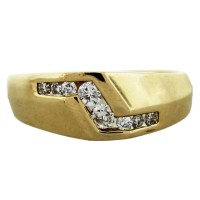 14K Yellow Gold Diamond Accented Mens Ring