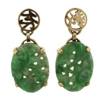 Vintage Carved Jade Earrings 14k Yellow Gold