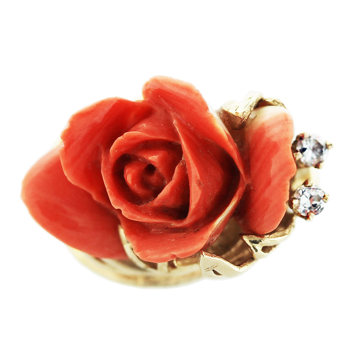 Carved Coral Rose Ring 14K Yellow Gold Boca Raton