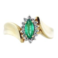 Yellow Gold Marquise Cut Emerald and Diamond Ring-Boca Raton