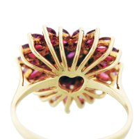 Yellow Gold Heart Shaped Ruby and Diamond Heart Ring