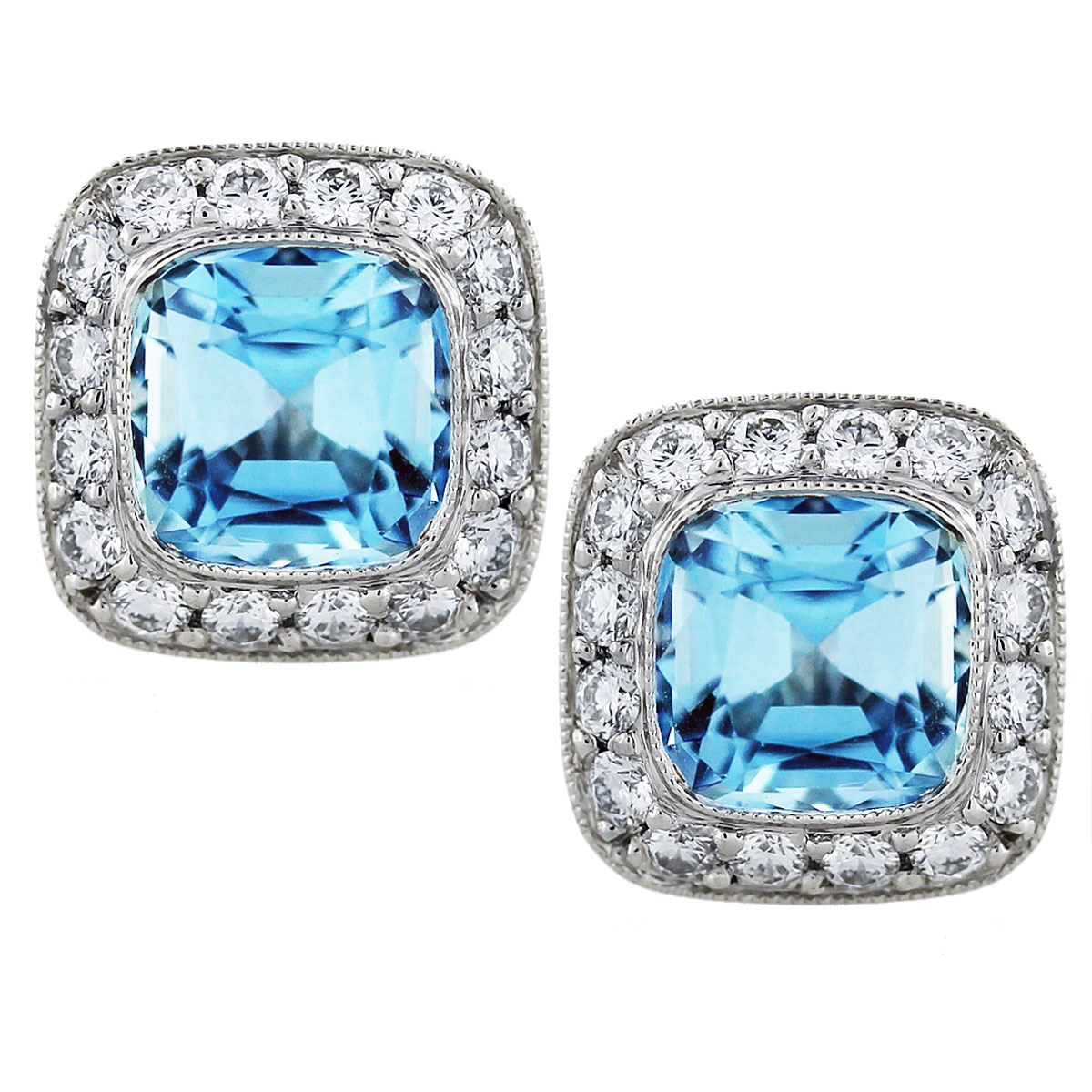 Tiffany And Co Legacy Aquamarine And Diamond Earrings In