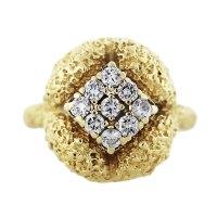 18K Yellow Gold Nugget Diamond Ring-Boca Raton