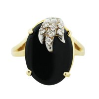 14k Two Tone Gold Black Onyx and Diamond Cocktail Ring ...