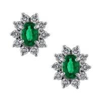 18k White Gold Emerald and Diamond Earrings-Boca Raton
