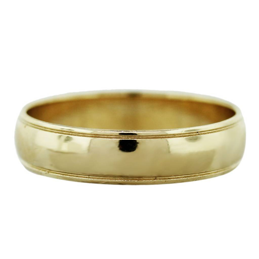 14k Yellow Gold Mens Wedding Band Ring