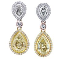 11ct Fancy Yellow Diamond Pear Shape Drop Earrings 18K Tri ...