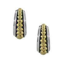 Lagos Caviar Sterling Silver and Yellow Gold Hoop Earrings ...