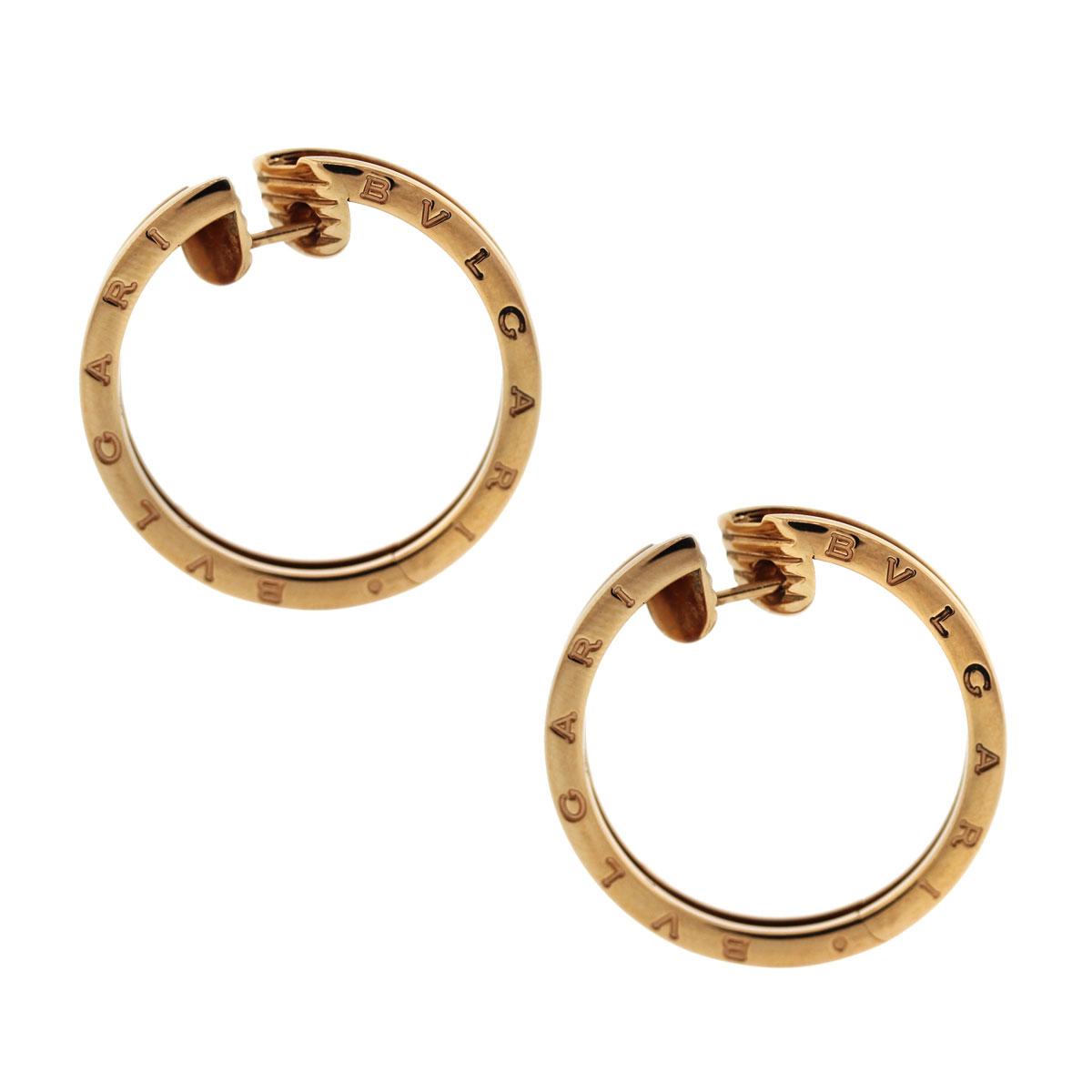 Bvlgari 18k Rose Gold Large B.Zero1 Hoop Earrings