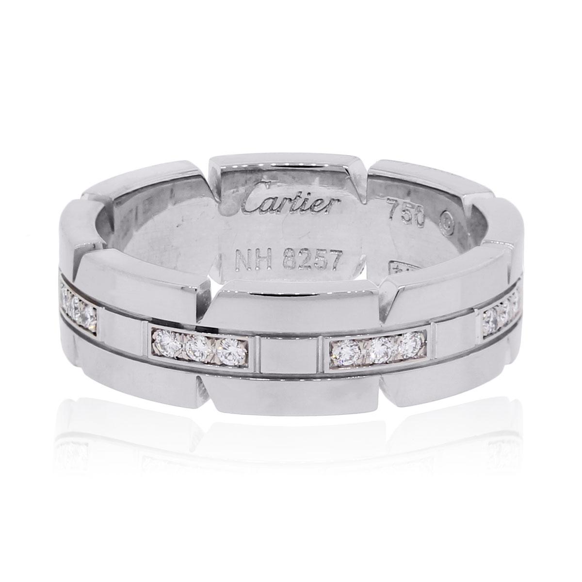 Cartier 18k Tank Francaise Diamond Wedding Band White Gold