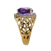 14k Yellow Gold Diamond and Heart Shaped Amethyst Ring ...