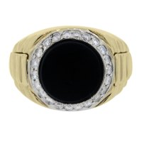 18kt Yellow Gold Mens Diamond and Onyx Ring Boca Raton